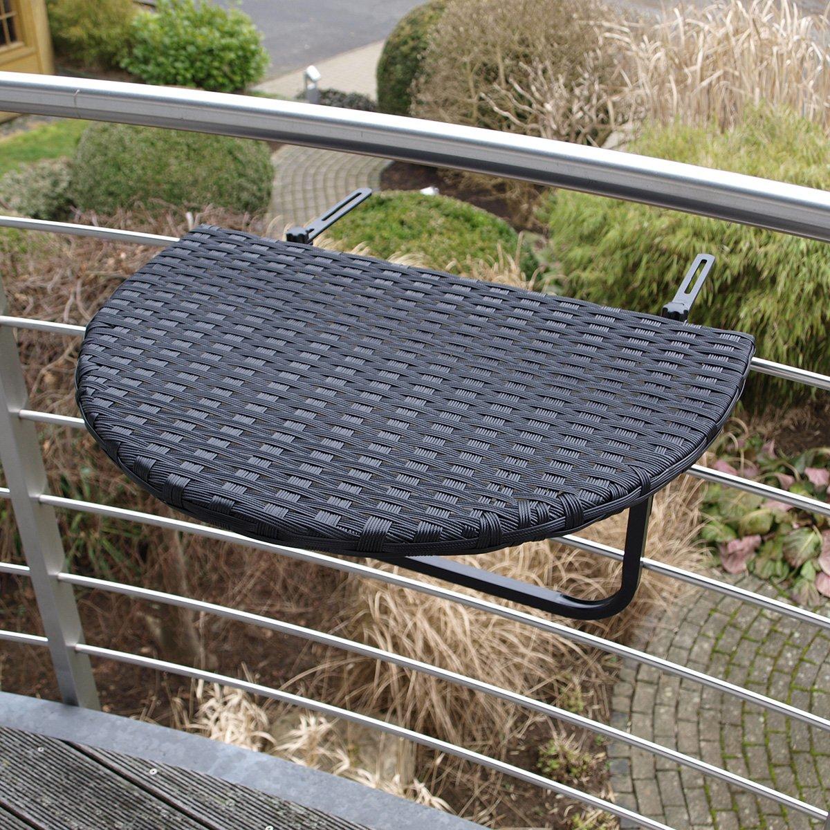 Balkonhängetisch 60x40cm, Metall + Polyrattan schwarz online kaufen