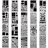 20 PCS Journal Stencil Plastic Planner Set for Journal/Notebook/Diary/Scrapbook DIY Drawing Template Journal Stencils 4x7 Inch (Color: Semi-Transparent White, Tamaño: 4*7 Inch)