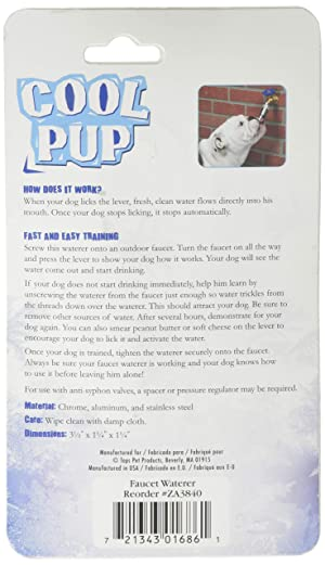 Cool Pup Faucet Waterers-Unique and Innovative Outdoor Faucet Attachments That Make It Easy to Offer Dogs Cool, Fresh Water Even When They're Outside Alone (Tamaño: one size)