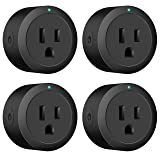 Smart plug Amysen : Smart Wifi Outlet, works with Alexa and Google Assistant & IFTTT& Google Houme, ETL Certified, Only Supports 2.4GHz Network, No Hub Required, Control Your Devices from Anywhere (Color: Black 4 pack)
