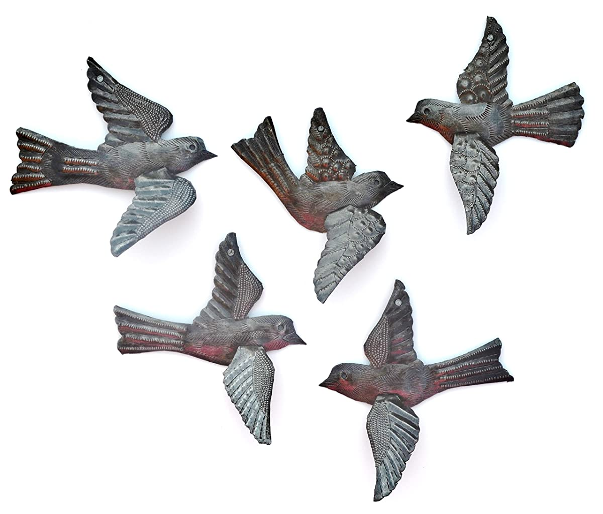 "Haitian Birds Recycled Steel Drum Art 3-d Wings (Set of 5), Haitian Bird Art 5"" x 4.5"""