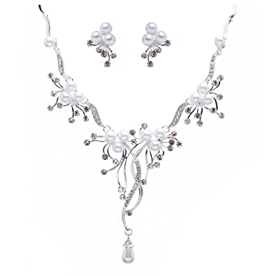 Bridal Wedding Jewelry Set Crystal Rhinestone Pearl Floral Vine Design Necklace