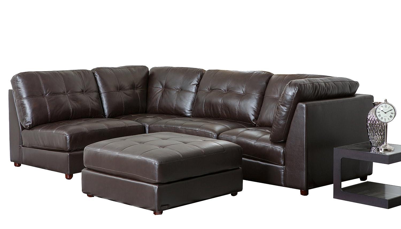 Abbyson Living Sonora Top Grain Leather Modular Sectional Sofa