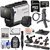 Sony Action Cam HDR-AS300R Wi-Fi HD Video Camera Camcorder & Live View Remote + Shooting Grip Tripod + Action Mounts + 64GB Card + Battery + Backpack + Kit