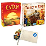 Catan 5th Edition and Days of Wonder's Ticket to Ride Bundle   Includes Convenient Drawstring Storage Pouch with Game Players Logo Printed