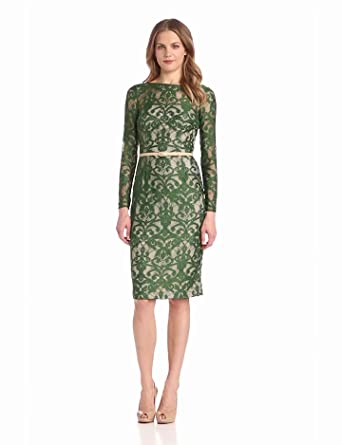 Maggy London Women's Scroll Lace Back V Dress, Forest, 10