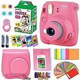 FujiFilm Instax Mini 9 Instant Camera Flamingo Pink + Fuji INSTAX Film (20 Sheets) + Custom Camera Case + Instax Album + 60 Colorful Stickers + 20 Emoji Stickers + Fun Frames + Colored Filters + More (Color: Flamingo Pink)