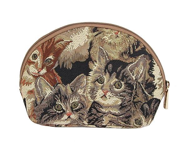 Cat Print Tapestry Makeup Bag Travel Cosmetic Bag Brush Bag for Women Girls by Signare (COSM -CAT) (Color: Multicolour, Tamaño: Small)