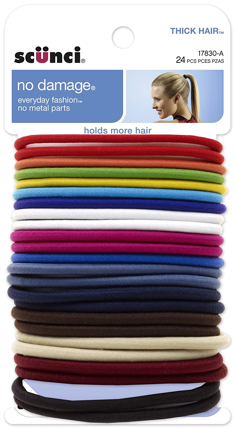 Scunci Effortless Beauty Thick Hair No-damage Bright Elastics, 5Mm, 24-Count
