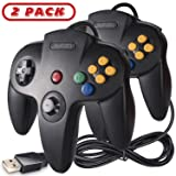 2 Pack N64 Classic USB Controller, kiwitatá Retro N64 Bit USB Wired PC Game Controller Gamepad Joystick for Windows PC & Mac Retro pie Black (Color: Black 2Pack)