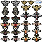 PGMJ 24 Pieces Cute Insect Patches Applique Sew Iron on Embroidered Sewing Iron on Bees Patches Sewing Patch Bags Jackets Jeans Clothes Caps
