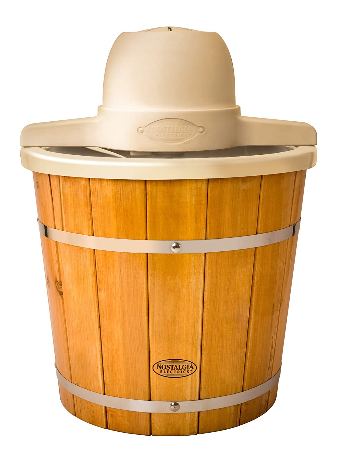 Nostalgia ICMP400WD Vintage Collection 4-Quart Wood Bucket Electric Ice Cream Maker with Easy to Clean Liner