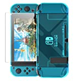 Updated Dockable Case Compatible with Nintendo Switch,FYOUNG Protective Accessories Clear Case Compatible Nintendo Switch and Nintendo Switch Joy-Cons with a Tempered Glass Screen Protector - Blue (Color: Blue)