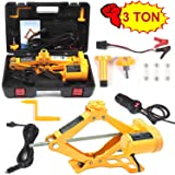 Electric Car Floor Jack 3 Ton All-in-one Automatic 12V Scissor Lift Jack Set for Sedans SUV w/Double Saddles Remote Hydraulic Tire Change Repair Emergency Tool Kits Vehicle Floor Jack Wheel Change (Tamaño: 3 Ton)