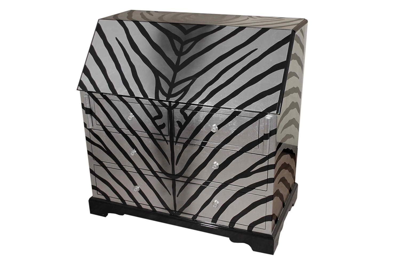 Casa Collection / Art for living by Jänig 10860 Sekretär, Zebra, 4 Schubfächer, Klappe mit Halterung Höhe 107 cm, Breite 107 cm und Tiefe 60 cm