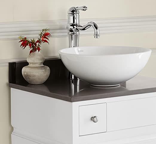 """Ronbow 367724-1-Q30 TechStone Vanity Top with 3/4"""" Thickness, 24"""" x 19"""", Stone Gray"""