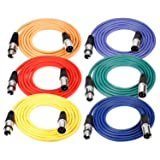 Neewer® 6-Pack 6.5ft/2M XLR Male To XLR Female Color Microphone Cables Rubber Shielded Patch Cable Cords Balanced Snake Cords (Green, Blue, Purple, Red, Yellow and Orange) (Tamaño: 2-meter)