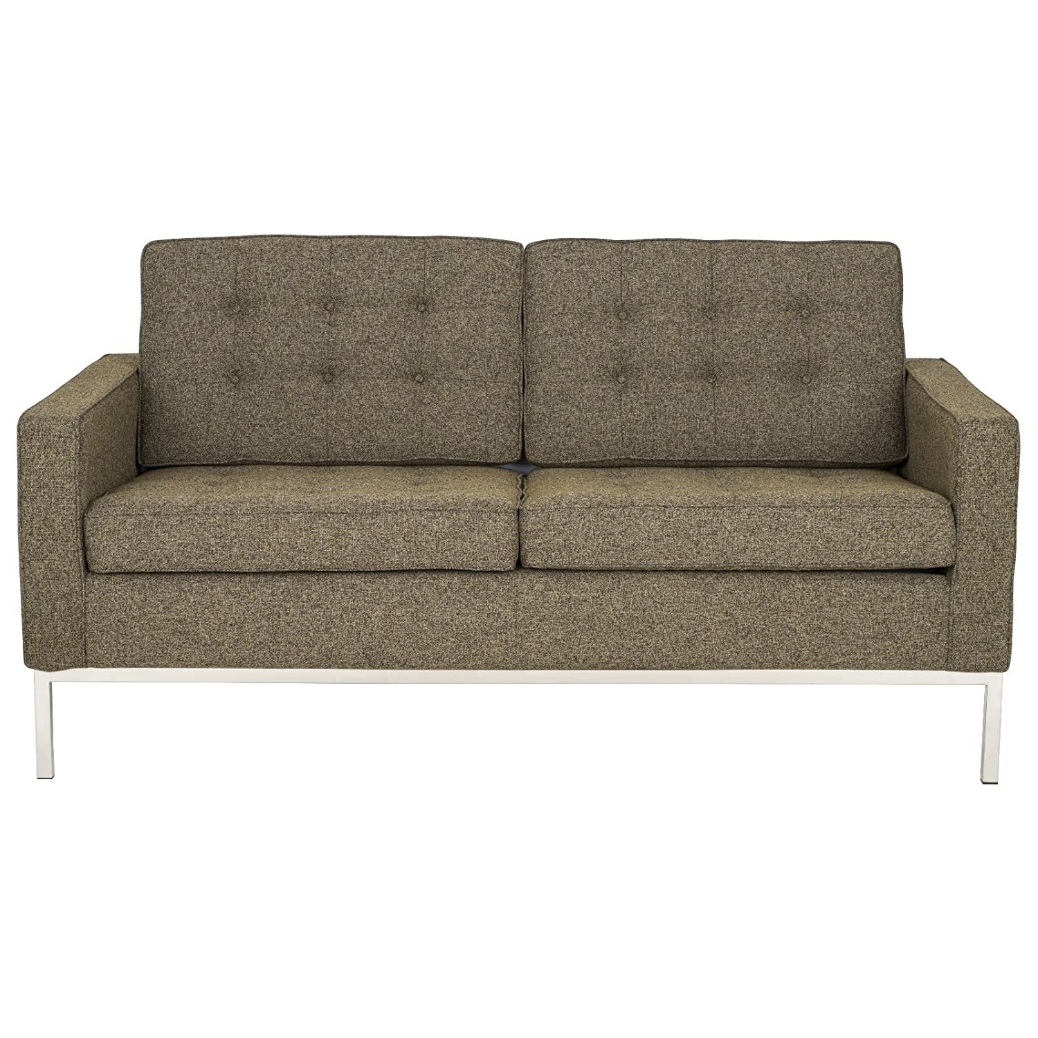LeisureMod® Modern Florence Style Fabric Loveseat Sofa in Oatmeal Twill Wool
