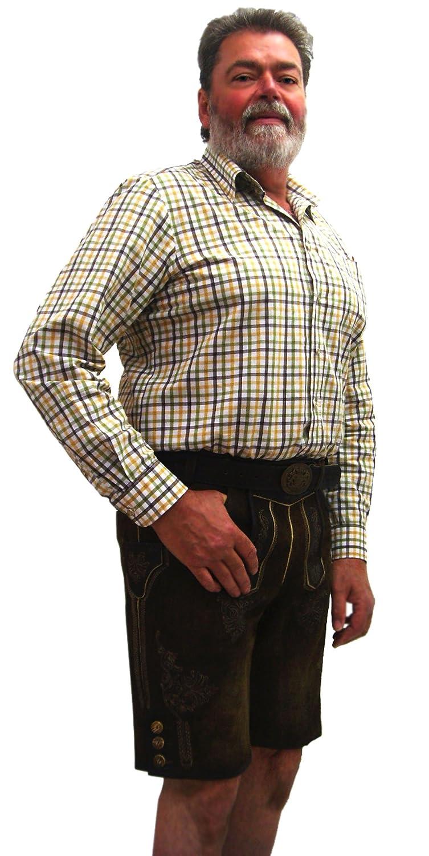 Herren Trachten Lederhose kurz braun mit Stickerei aus Wildbockleder günstig online kaufen