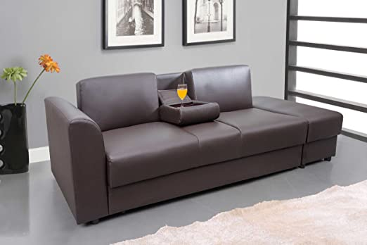 Moderna Nueva Piel Sintética Kensington Otomano Reposapiés de almacenamiento/3plazas sofá cama & en negro, marrón o blanco