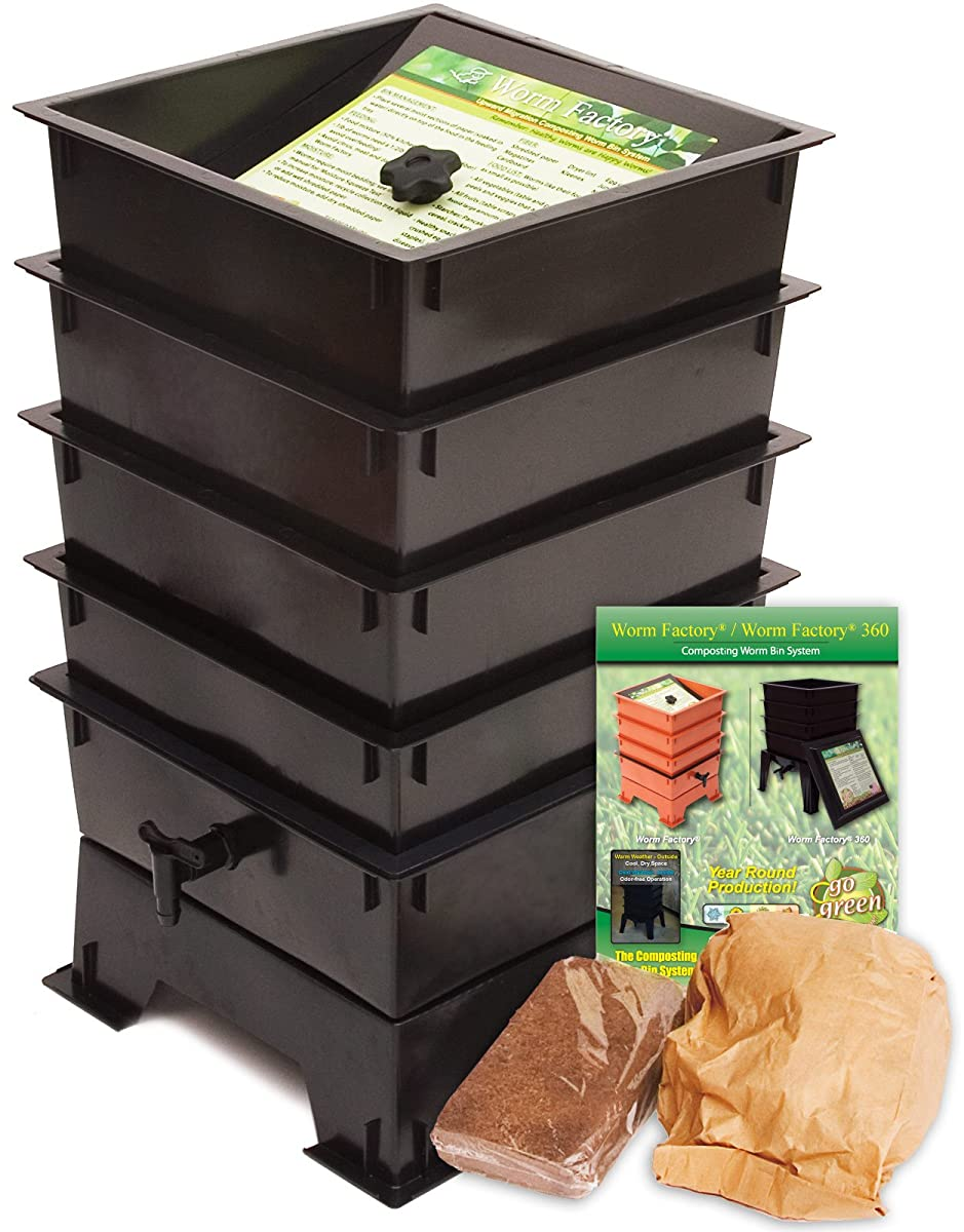 Worm Factory DS4BT 4-Tray Worm Composter, Black
