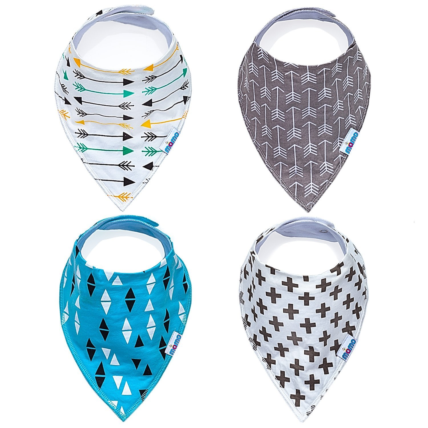 Mamo Premium Baby Bandana Drool Bibs - Unisex 4 Pack Absorbent Cotton With Adjustable Snaps - Cute Baby Gift for Boys & Girls