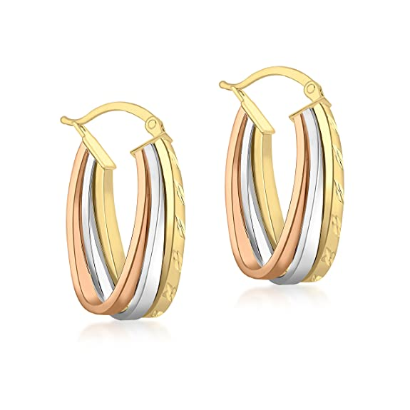 Carissima Gold 9ct 3 Colour Gold Diamond Cut Triple Loop Creole Earrings