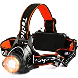 Techole Headlamp Flashlight Bright Headlight - 2000 Lumens Waterproof and Rechargeable Head Lamp Up to 500ft Range with 3 Modes Red Light Adjustable Strap, LED Headlamps for Camping, Hiking, Running (Color: Orange)