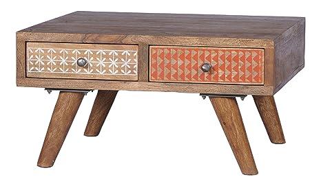 SIT-Möbel 4370-01 Couchtisch Scandi, 70 x 70 x 40 cm, Sheshame lackiert, Gestell natur, Front bunt