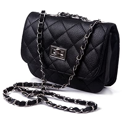 Black Quilted Chain Shoulder Bag 98
