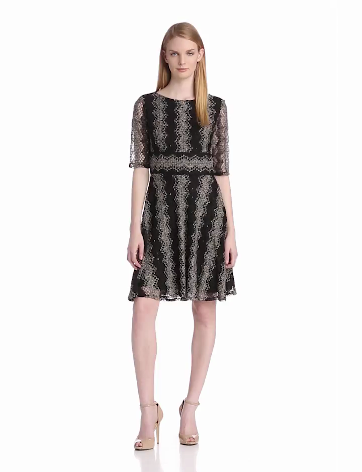 Gabby Skye Womens Elbow Sleeve Lace Knit Flare Dress, Black/Gold, 4