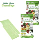 Debbie Meyer GreenBags - Reusable BPA Free Food Saver Storage Bags, Keep Fruits and Vegetables Fresher Longer in these Green Bags! 20pc Set (10M, 10L)