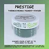 PRESTIGE THERMOCHROMIC PIGMENT THAT CHANGES COLOR AT 88°F (31 °C) FROM COLORED TO TRANSPARENT (Colored Below The Temperature, Transparent Above) Perfect For Color Changing Slime! (5g, GREEN TO YELLOW) (Color: GREEN TO YELLOW, Tamaño: 5g)