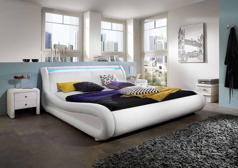 Design Lederbett 140 x 200cm weiß mit LED Leiste günstig online kaufen