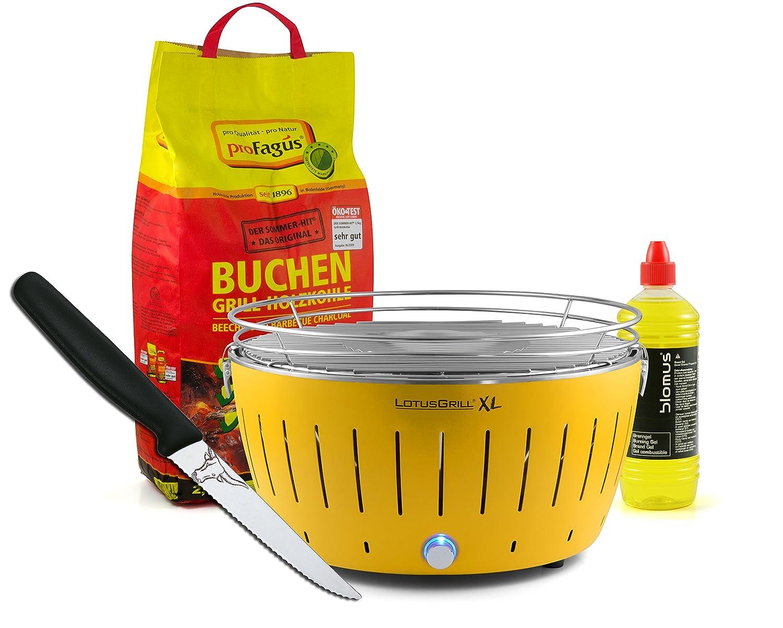Lotusgrill XL GELB inkl. 2,5kg Holzkohle, Brenngel 1L & Steakmesser günstig online kaufen