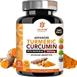 Turmeric Supplements Curcumin 1500mg with Bioperine - Anti Inflammatory and Antioxidant for Back Pain Relief with Black Pepper, Made in The USA (One Pill A Day) One Month Supply