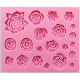 Funshowcase 21 Cavity Roses Collection Fondant Candy Silicone Mold for Sugarcraft Cake Decoration, Cupcake Topper, Polymer Clay, Soap Wax Making Crafting Projects (Color: 1462 21 Cavity Rose)