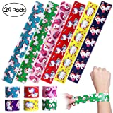 iBaseToy 24 Pack Unicorn Slap Bracelets - Birthday Party Favors Carnival Prizes for Kids Boys Girls Adults, 6 Designs