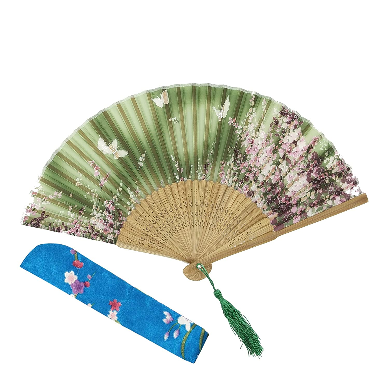 OMyTea® Hand Held Silk Folding Fans with Bamboo Frame