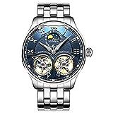 Double Tourbillon Men'S Watch Luxury Brand Sapphire Water Resistant Toubillon Full Steel Mechanical Clock (Color: Blue, Tamaño: 42mm)