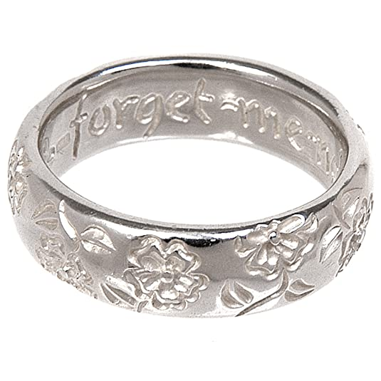 Dower & Hall, Forget me Not - Solid Sterling Silver Engraved Floral Ring