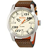 HUGO BOSS Men's 'Oslo' Quartz Stainless Steel and Leather Casual Watch, Color:Brown (Model: 1513418) (Color: brown)