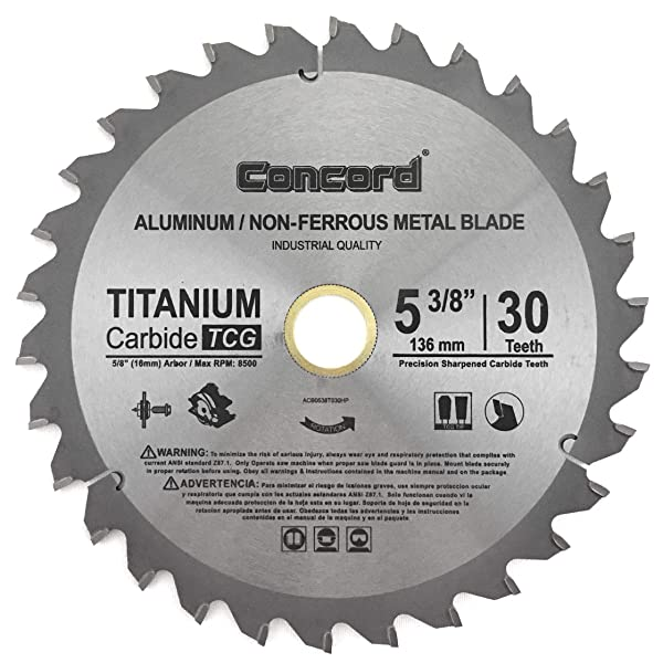 Concord Blades ACB0538T030HP 5-3/8-Inch 30 Teeth TCT Non-Ferrous Metal Saw Blade (Tamaño: 5-3/8-Inch 30 Teeth)