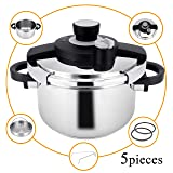 Z&L 6 Quart 5.7Liter Stainless Steel Pressure Cooker with One-hand System,7psi/12psi Settings Premium High Pressure Cooker,Induction Pressure Cookware,Stove top Pressure Cooker(Accessories included) (Color: pressure cooker-6qt, Tamaño: 6 qt)