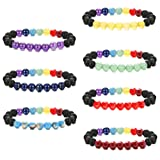 Milacolato 7PCS Chakra Bracelet for Mens Womens Natural Stone Diffuser Bracelet Yoga Bead Set 8mm Lava