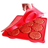 SiliCo Burger Press|8 In 1 Circular Compartments for Patties, Cookies, Hash Browns, Cutlets & More|Red (Color: Red)