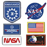 WZT 6 Pcs Tactical Flag Patch - USA NASA Patch Endurance Lazarus IV Pacth Embroidered Morale Lot Military Embroidered Patches (Color: 6 Pcs set (hook and loop fasteners))