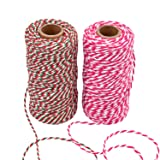Sunmns Christmas Twine Cotton String Rope Cord for Gift Wrapping, Arts Crafts, 656 Feet (Multicolor B) (Color: Multicolor B)