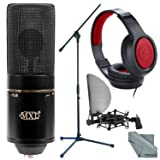 MXL 770X Multipattern Condenser Microphone and Accessory Bundle with Headphones + Microphone Boom Stand + Fibertique Cleaning Cloth