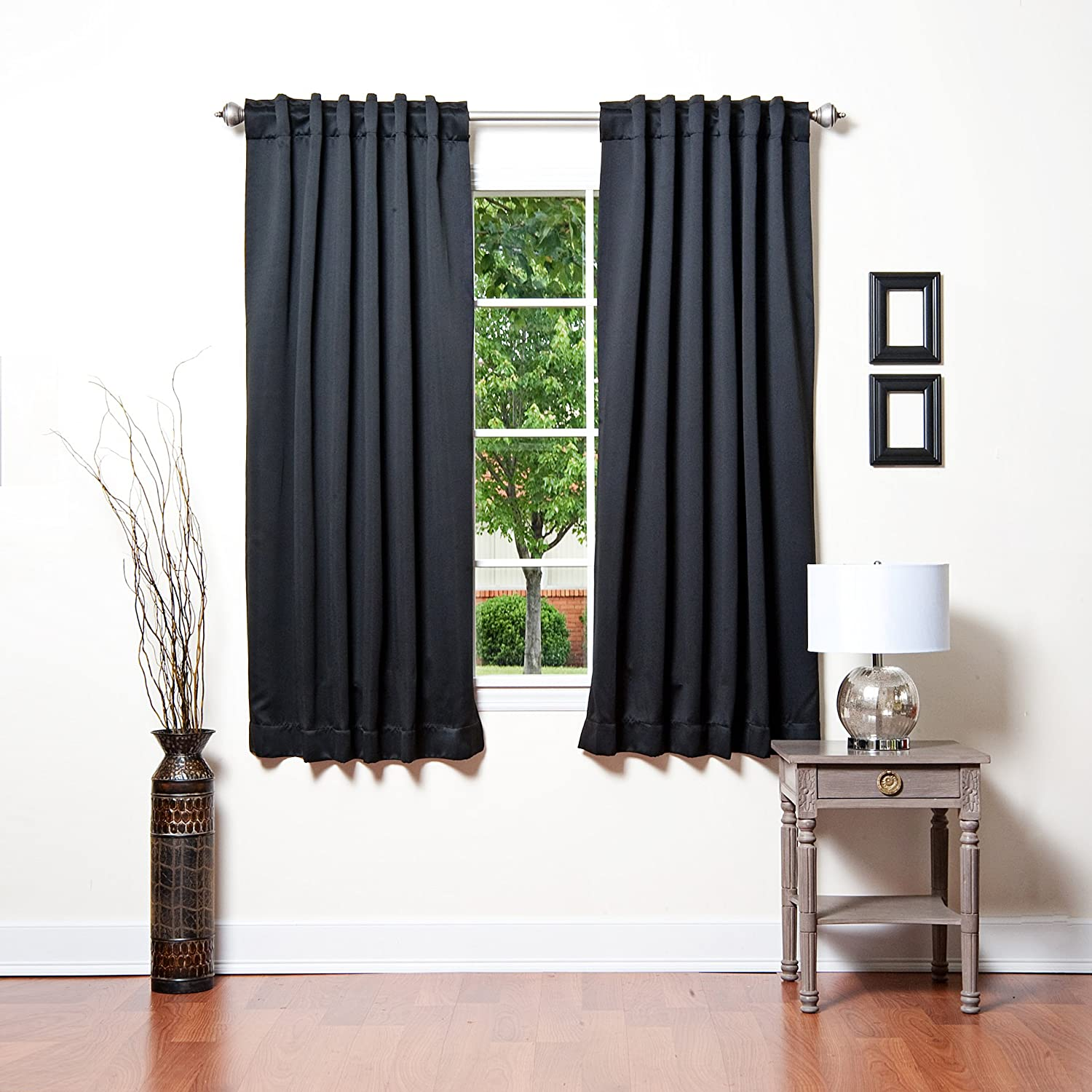 Black Backtab And Rod Pocket Solid Thermal Insulated Blackout Curtain 63 Lengt Ebay